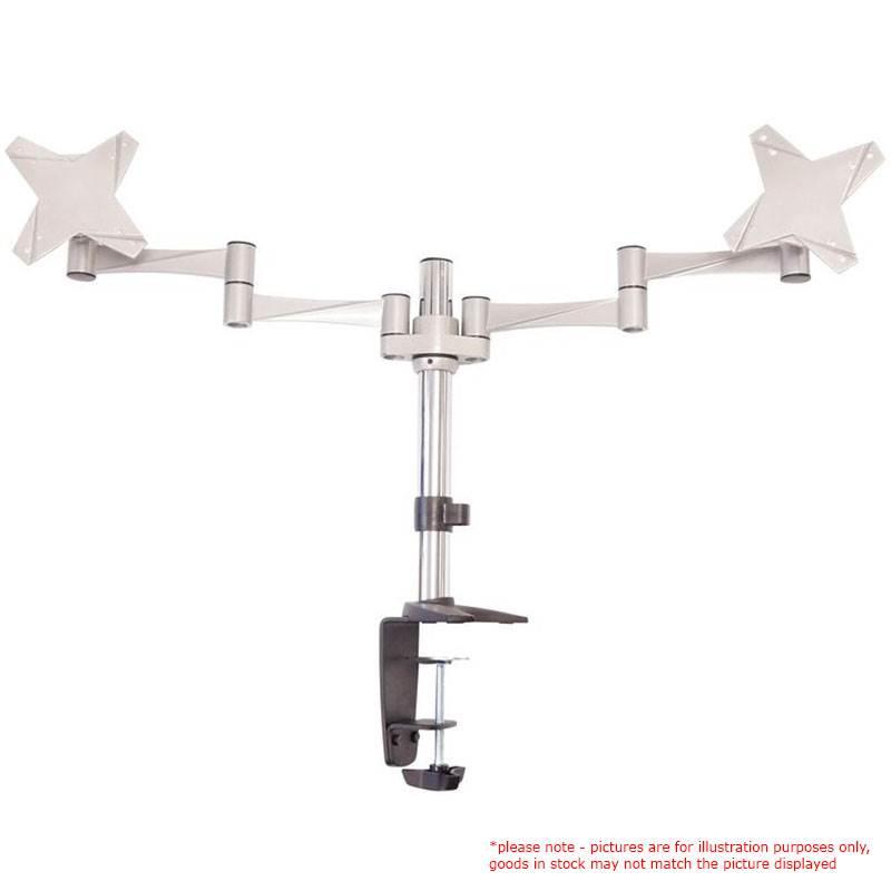 Astrotek Dual Monitor Arm Desk Mount Stand 43cm for 2 LCD Displays 21.5' 22' 23.6' 24' 27' 8kg 30° tilt 180° swivel 360° rotate VESA 75x75 100x100