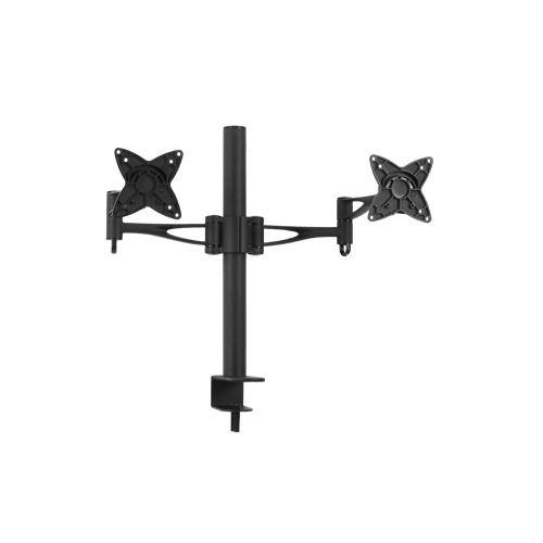 Brateck Dual Monitor Mount w/Arm  Desk Clamp Black VESA 75/100mm Up to 27''