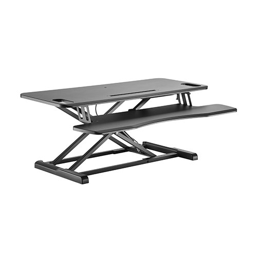 Brateck Gas Spring Sit-Stand Desk Converter with Keyboard Tray Deck(Standard MDF Board Surface)