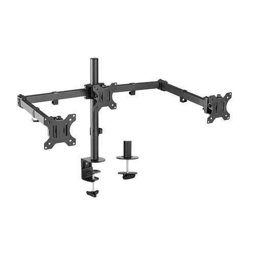 BrateckTriple Screens Economical Double Joint Articulating Steel Monitor Arms, Extended Arms  Free Rotated Double Joint,Fit Most 13'-27' Up to 7kg.