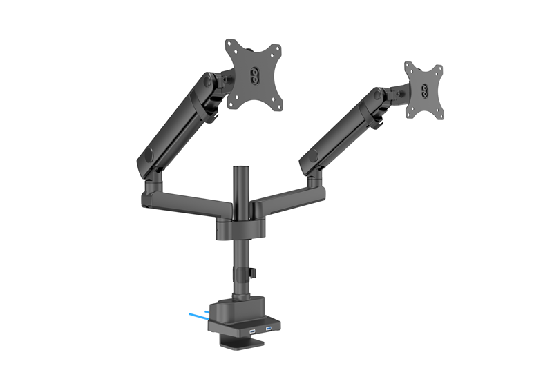 Brateck Dual Monitor Aluminum Slim Pole Held Mechanincal Spring Monitor Arm Fit Most 17'-32' Monitors Up to 8kg per screen