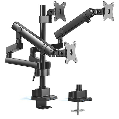 BrateckTriple Monitor Aluminum Slim Pole Held Mechanical Spring Monitor Arm Fit Most 17'-27' Monitors Up to 7kg per screen