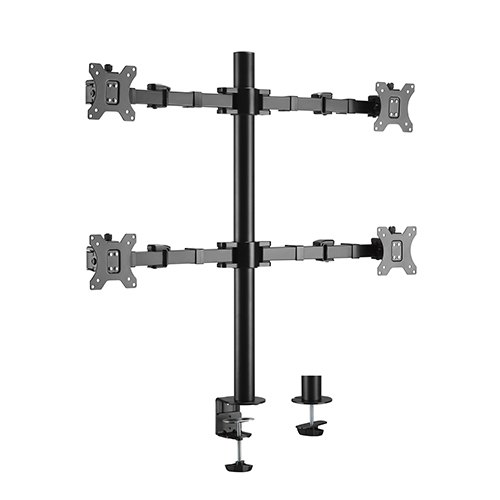 Brateck Quad Monitors Affordable Steel Articulating Monitor Arm Fit Most 17'-32' Monitors Up to 9kg per screen