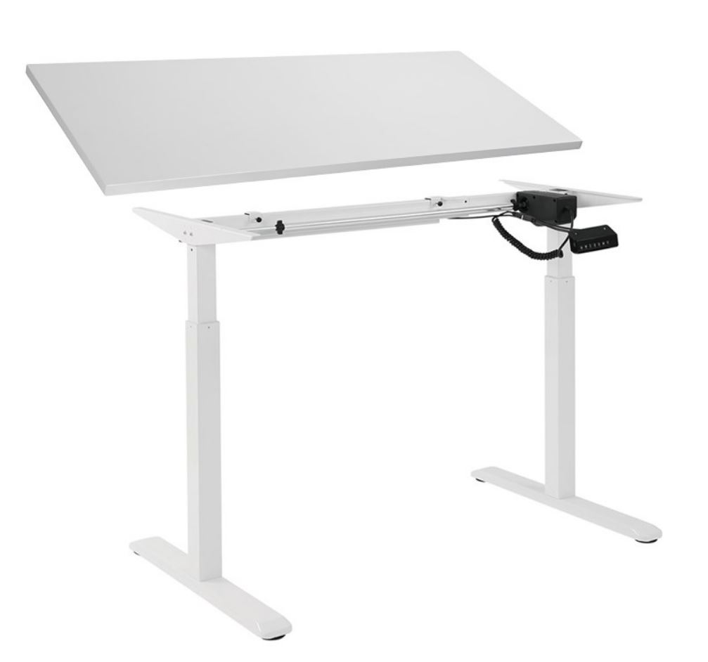 Brateck 2-Stage Single Motor Electric Sit-Stand Desk Frame with button Control Panel-White Colour; TP18075  White Colour Board