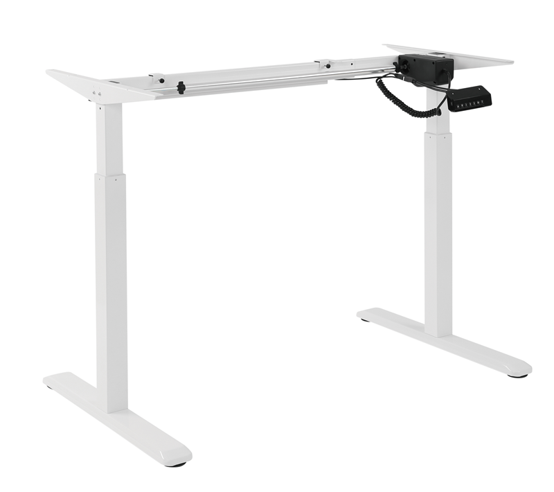 Brateck 2-Stage Single Motor Electric Sit-Stand Desk Frame with button Control Panel-White Colour (FRAME ONLY); Requires TP18075 for the Board