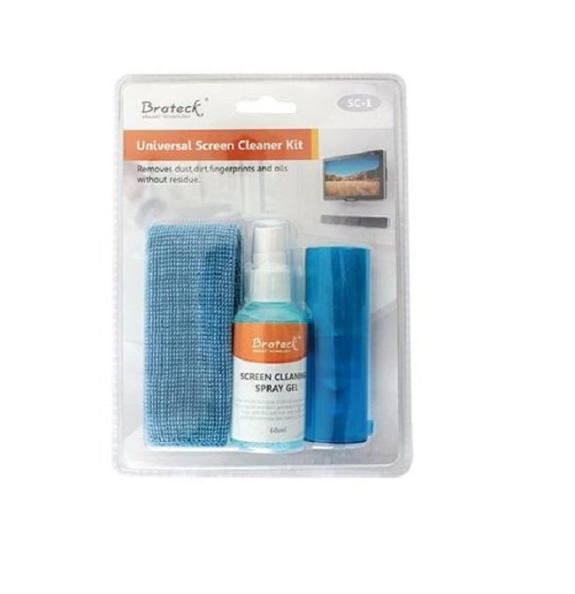 Brateck 3-In-1 Screen Cleaner Kit 1 x 60ml Screen Cleaner + 1 x 200x200mm Pearl Cloth + 1 x Soft Brush
