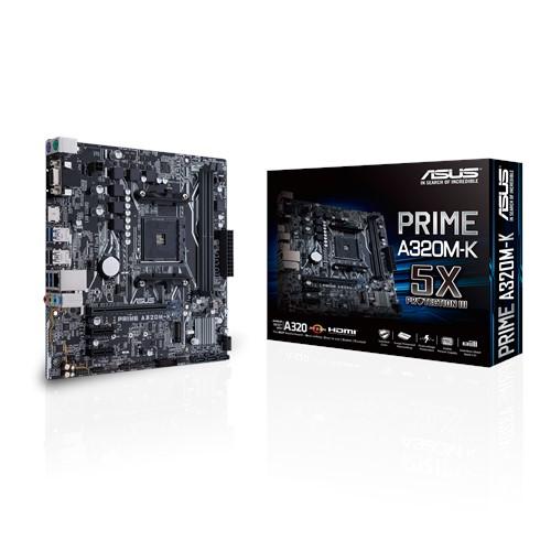 Asus Prime A320M-K AM4 uATX MB  2xDDR4 3xPCe 1xM.2 4xSATA 4xUSB3.1, 1xD-Sub, 1xHDMI