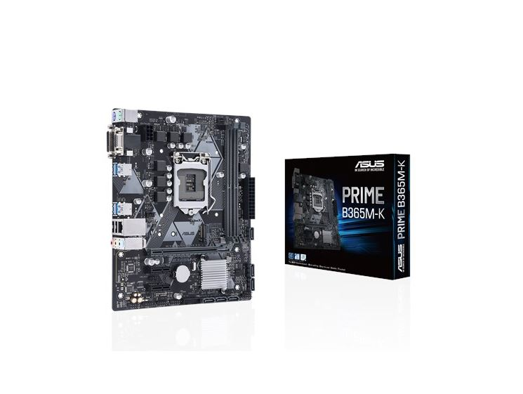 ASUS PRIME B365M-K Intel LGA-1151 mATX motherboard with LED lighting, DDR4 2666MHz, M.2 support, SATA 6Gbps