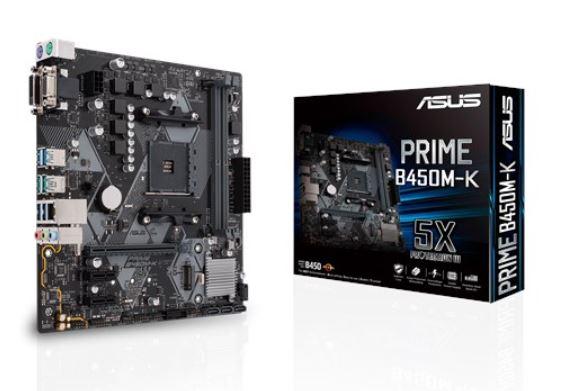 ASUS PRIME B450M-K AMD AM4 mATX MB With LED Lighting, DDR4 4400MHz, M.2, SATA 6Gbps, USB 3.1 Gen 2, DVI-D/D-Sub