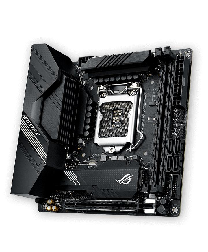 ASUS ROG STRIX B460-I GAMING mITX Gaming Motherboard 10th Gen LGA1200 DDR4 2933MHz, 2xM.2, 4xSATA, WIFI6, MU-MIMO, Raid, LANGuard, Aura Sync