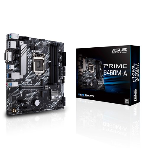 ASUS PRIME B460M-A mATX Motherboard Intel 10th Gen LGA1200 DDR4 2933MHz, 2xM.2, 6xSATA, DP, HDMI, DVI-D, LANGuard, Raid, Aura Sync