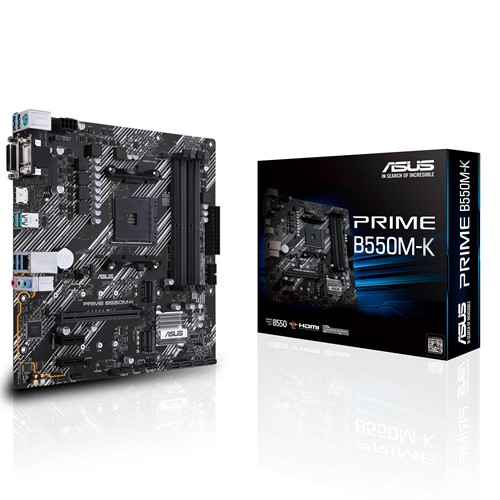 ASUS AMD B550 PRIME B550M-K (Ryzen AM4) mATX MB, Dual M.2, PCIe 4.0, 1Gb Ethernet, HDMI/D-Sub/DVI, SATA 6Gbps, USB 3.2 Gen 2 A