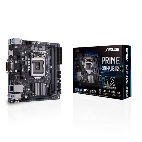 ASUS PRIME H310I-PLUS R2.0 Intel LGA-1151 Mini-ITX Motherboard. DDR4 2666MHz, M.2 M Key  M.2 E Key Support, HDMI, SATA 6Gbps. USB 3.1 Gen1