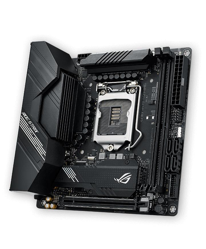 ASUS ROG STRIX H470-I GAMING mITX Motherboard 10th Gen LGA1200 DDR4 2933MHz 2xM.2, 4xSATA,  WIFI6, MU-MIMO, OFDMA, LANGuard, Aura Sync RGB