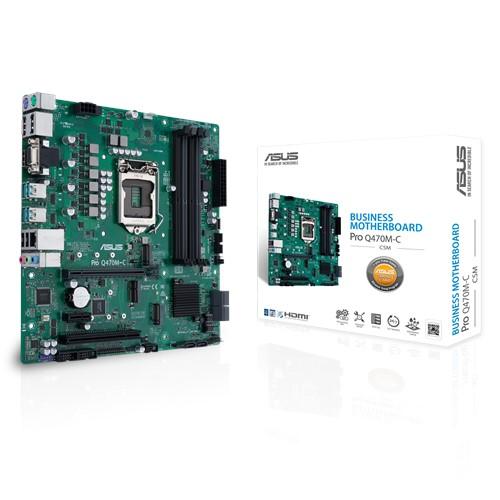 ASUS Pro Q470M-C/CSM Intel 10th Gen LGA1200 mATX Business MB, 4xDDR4 2xPCIe 1xPCI 2xDP 1xHDMI 2xM.2 6xSATA