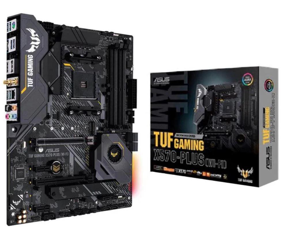 ASUS TUF GAMING X570-PLUS (WI-FI) AMD AM4 X570 ATX MB, PCIe 4.0, Dual M.2,14 Dr. MOS Power Stages, HDMI, DP, SATA 6Gb/s, USB 3.2 Gen2, Aura Sync