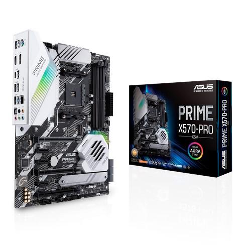 ASUS PRIME X570-PRO/CSM AMD AM4 ATX MB, PCIe 4.0, 14 DrMOS Power Stages, DDR4 4400MHz, Dual M.2, HDMI, SATA 6Gb/s, USB 3.2 Gen 2 Front-panel