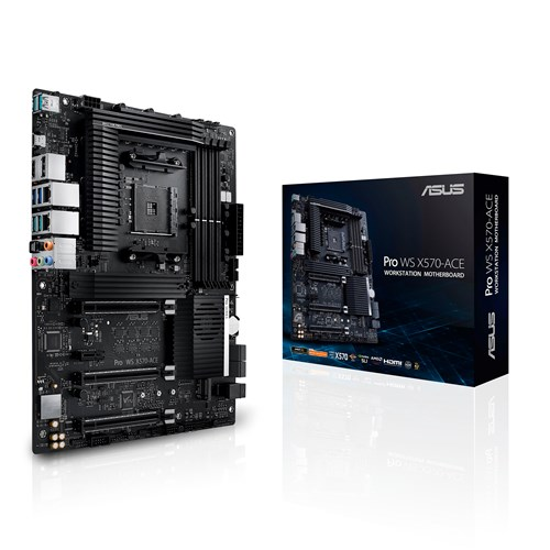 ASUS WS AMD AM4 X570 ATX Workstation MB. 3 PCIe 4.0 x16, 14 IR3555 Power Stages, DDR4 ECC Memory Support, Intel Gigabit LAN, Dual M.2