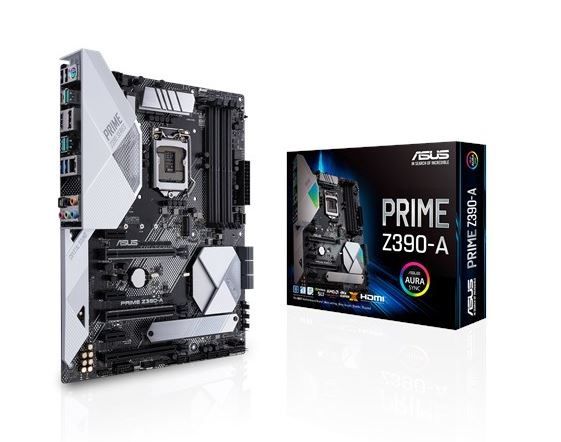 ASUS PRIME Z390-A Intel LGA 1151 ATX MB, DDR4 4266, Dual M2 For 8th/9th Gen Pentium/Celeron CPUs
