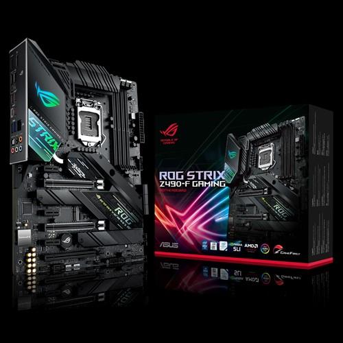 ASUS ROG STRIX Z490-F GAMING Intel Z490 10th Gen LGA1200 ATX MB DDR4 1xDP 1xHDMI 6xUSB3.2 PCIe3.0x16 6xSATA 2xM.2, Aura Sync RGB