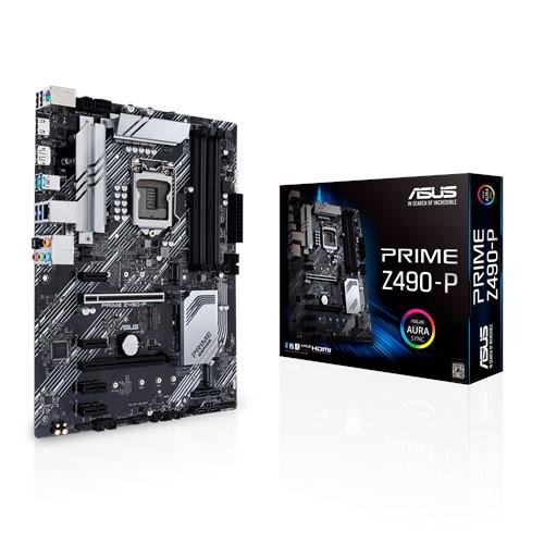ASUS PRIME Z490-P Intel Z490 10th Gen LGA1200 ATX MB DDR4, 1xDP 1xHDMI 2xUSB3.2 1xPCIe3.0 4xSATA 2xM.2, Thunderbolt, Aura Sync RGB