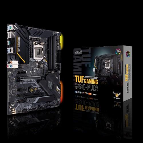 ASUS TUF GAMING Z490-PLUS Intel Z490 10th Gen LGA1200 ATX MB DDR4 1xDP 1xHDMI 6xUSB3.2 2xPCI-E3.0x16, 6xSATA 2xM.2, Thunderbolt, VRM Heatsink, A