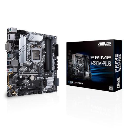 ASUS PRIME Z490M-PLUS Intel Z490 10th Gen LGA1200 mATX MB DDR4, 1xDP 1xHDMI DVI-D, 4xUSB3.2 1xPCIe3.0, VRM Aluminium Heatsink, Non-RGB