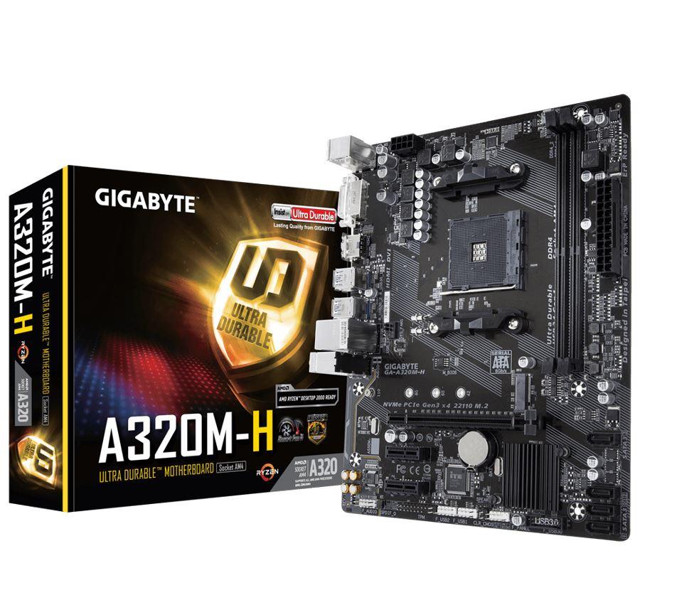 Gigabyte GA-A320M-H Ryzen AM4 mATX MB 2xDDR4 3xPCIE M.2 HDMI DVI RAID Realtek GbE LAN 4xSATA3 4xUSB3.1