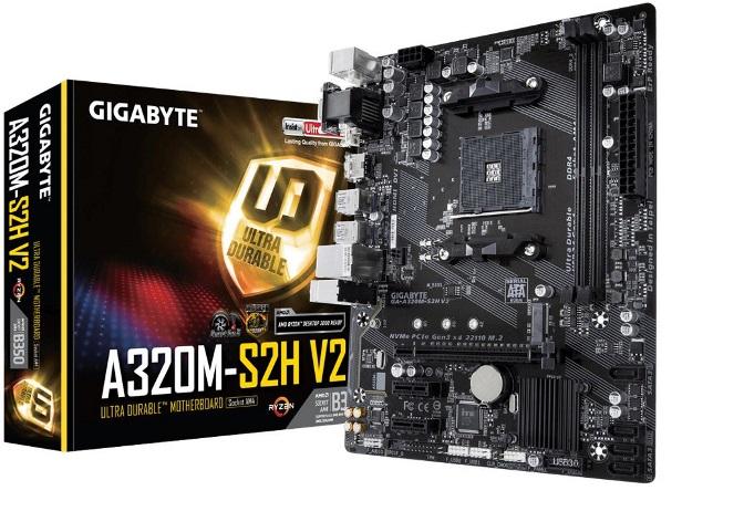 Gigabyte GA-A320M S2H V2 Ryzen AM4 mATX MB 2xDDR4 3xPCIE M.2 HDMI DVI RAID Realtek GbE LAN 4xSATA 2xUSB3.1