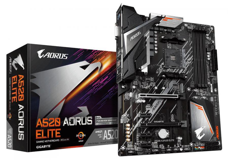 Gigabyte A520 AORUS ELITE AMD ATX MB 4xDDR4 1xM.2 PCIE3.0 1xHDMI 1xDVI