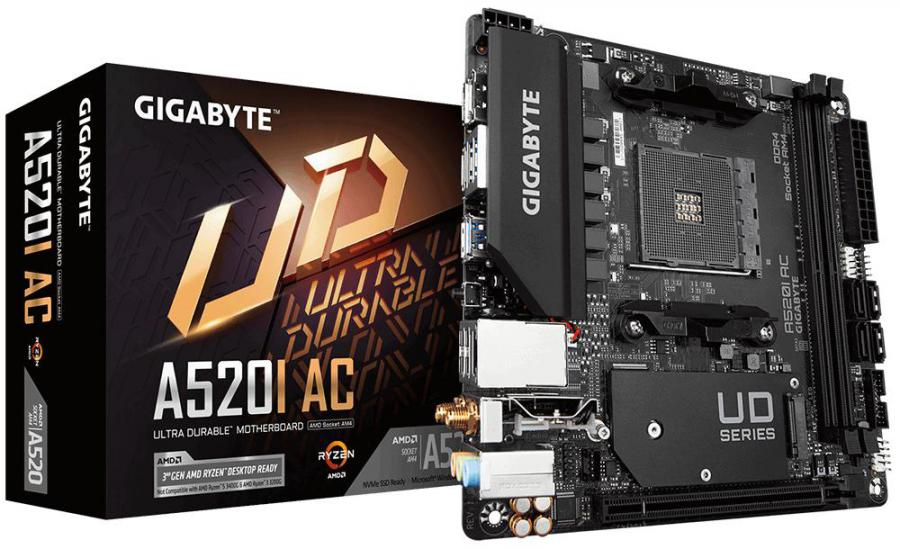 Gigabyte A520I AC AMD Mini-ITX MB 2xDDR4 1xM.2 PCIE3.0 1xDP 2xHDMI