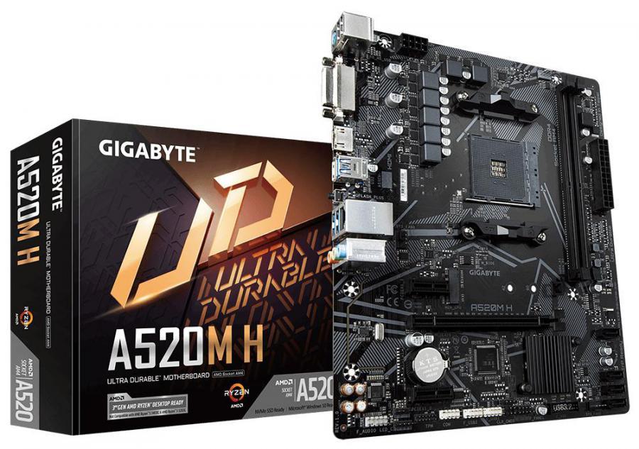 Gigabyte A520M H AMD MATX MB 2xDDR4 1xM.2 PCIE3.0 1xHDMI 1xDVI