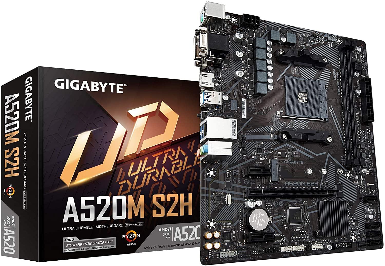 Gigabyte A520M S2H AMD mATX MB 2xDDR4 1xM.2 PCIE 3.0 1xHDMI 1xDVI