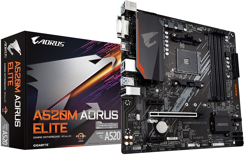 Gigabyte A520M AORUS ELITE AMD mATX MB 4xDDR4 1xHDMI 1xDVI 1xM.2