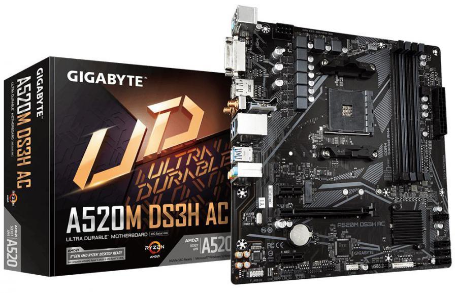 Gigabyte A520M DS3H AC AMD mATX MB 4xDDR4 1xM.2 SATA PCIE 3.0 1xDP 1xHDMI 1xDVI