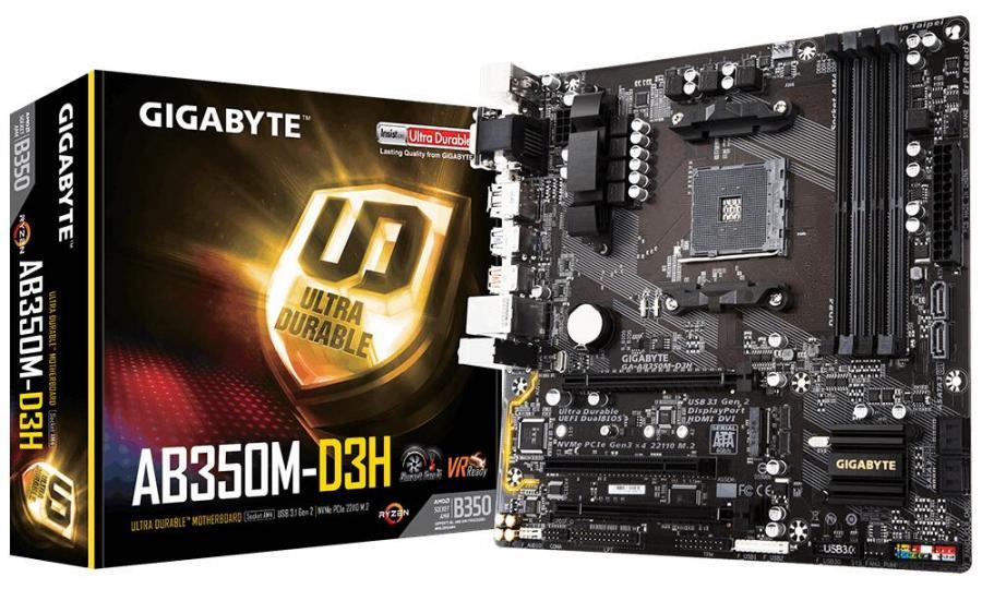 Gigabyte GA-AB350M-D3H Ryzen AM4 mATX MB 4xDDR4 1xPCIEx16 M.2 HDMI DVI VGA DP RAID Realtek GbE LAN 4xUSB3.1 RGB Fusion VR