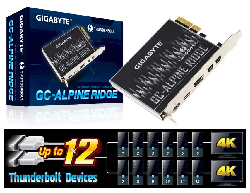 Gigabyte Alpine Ridge V2 Dual Thunderbolt 3 Card for H270 Z270 Z370 X299 Series 3 Ports USB-C 40 Gb/s DisplayPort 1.2 4K Daisy-chain up to 12 Devices