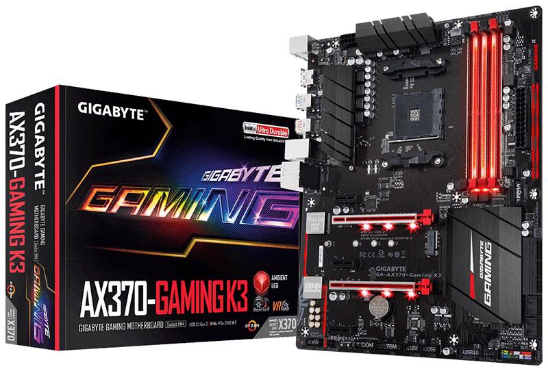 Gigabyte GA-AX370-GAMING-K3 AMD Ryzen AM4 ATX MB 4xDDR4 2xPCIEx16 HDMI 4K M.2 8xSATA 6Gb/s RAID Killer NIC GbE LAN 2xCrossFire 6xUSB3.1 RGB
