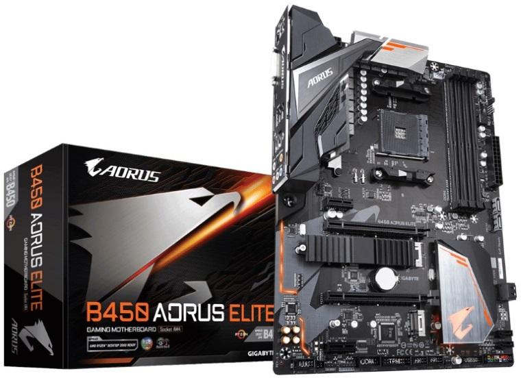 Gigabyte B450 AORUS ELITE AMD Ryzen Gen3 AM4 ATX Motherboard 4xDDR4 4xPCIE 2xM.2 DVI HDMI RAID GbE LAN 6xSATA 6xUSB3.1 8xUSB2.0 Quad CrossFire RGB Fus