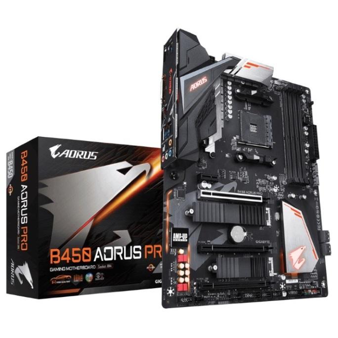 Gigabyte B450 AORUS PRO AMD Ryzen Gen3 AM4 ATX Motherboard 4xDDR4 4xPCIE 2xM.2 DVI HDMI RAID Intel GbE LAN 6xSATA 1xUSB-C 7xUSB3.1 RGB Fusion