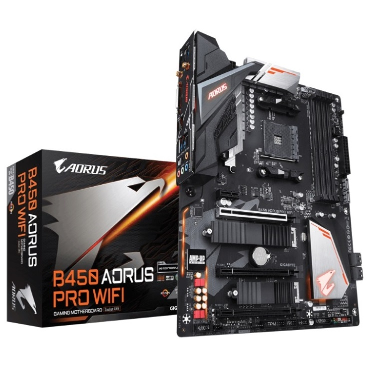Gigabyte B450 AORUS PRO WIFI AMD Ryzen Gen3 AM4 ATX Motherboard 4xDDR4 4xPCIE 2xM.2 DVI HDMI RAID Intel GbE LAN 6xSATA 1xUSB-C 7xUSB3.1 RGB Bluetooth