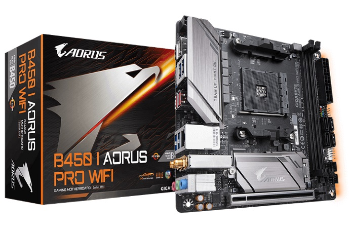 Gigabyte B450 I AORUS PRO WIFI Bluetooth AMD Ryzen Gen3 AM4 Mini-ITX MB 2xDDR4 1xPCIE 1xM.2 DP HDMI RAID Intel GbE LAN 4xSATA 8xUSB3.1 2xUSB2.0 RGB Fu