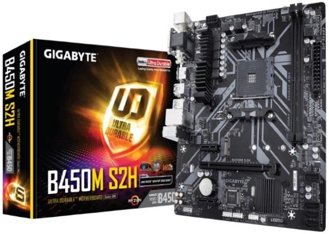 Gigabyte B450M S2H Ryzen AM4 mATX Motherboard 2xDDR4 3xPCIE 1xM.2 VGA DVI HDMI RAID GbE LAN 4xSATA 4xUSB3.1 6xUSB2.0 Quad CrossFire RGB Fusion