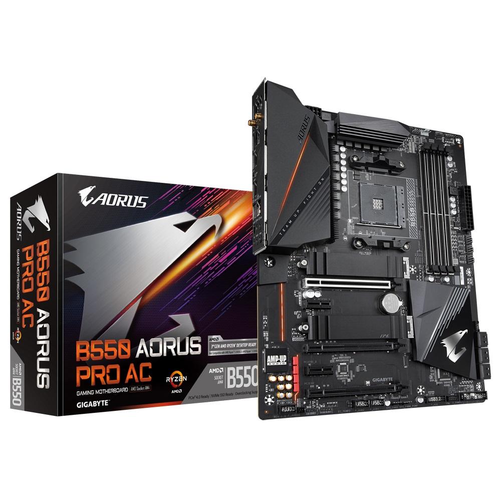 Gigabyte B550 AORUS PRO AC AMD Ryzen ATX Motherboard 4xDDR4 6xSATA 2xM,2 HDMI LAN RAID BT 3xPCIEx16 3xUSB3.2 1xUSB-C