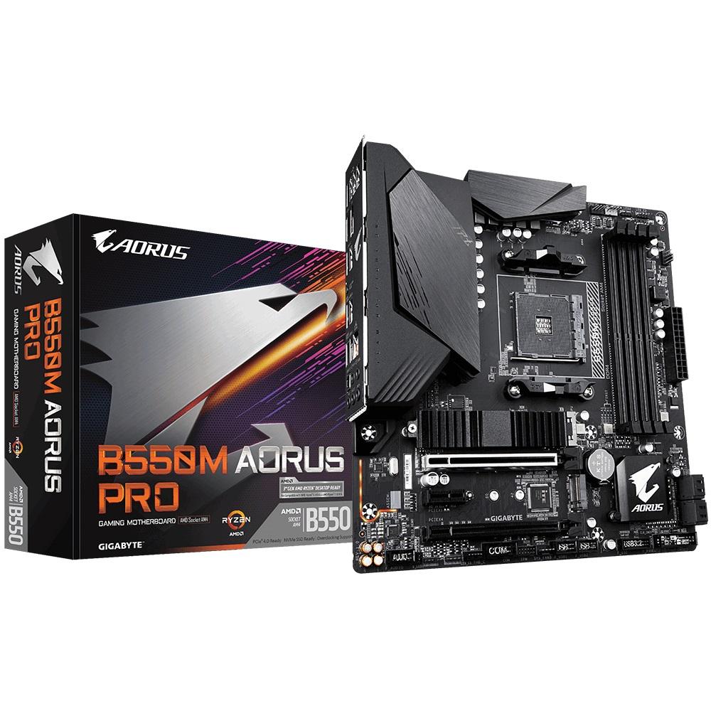 Gigabyte B550M AORUS PRO AMD Ryzen M-ATX Motherboard  4xDDR4 4xSATA 2xM.2 LAN RAID DP HDMI 2xPCIEx16 4xUSB3.2 1xUSC-C