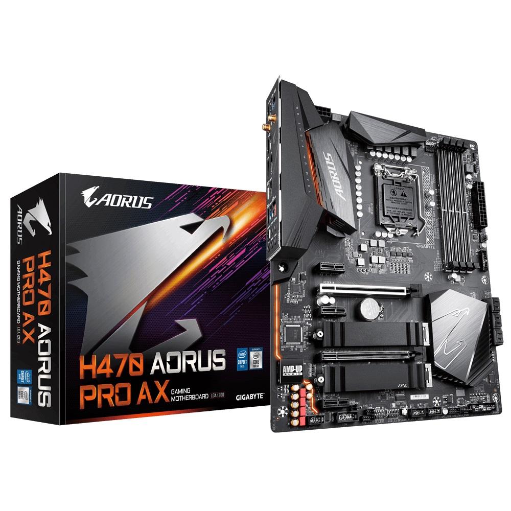 Gigabyte H470 AORUS PRO AX ATX Motherboard 4xDDR4 10th Gen LGA1200 2xM.2 6xSATA 2.5GbE LAN RAID WiFi 6 BT CrossFire 3xPCIE HDMI DP USB-C
