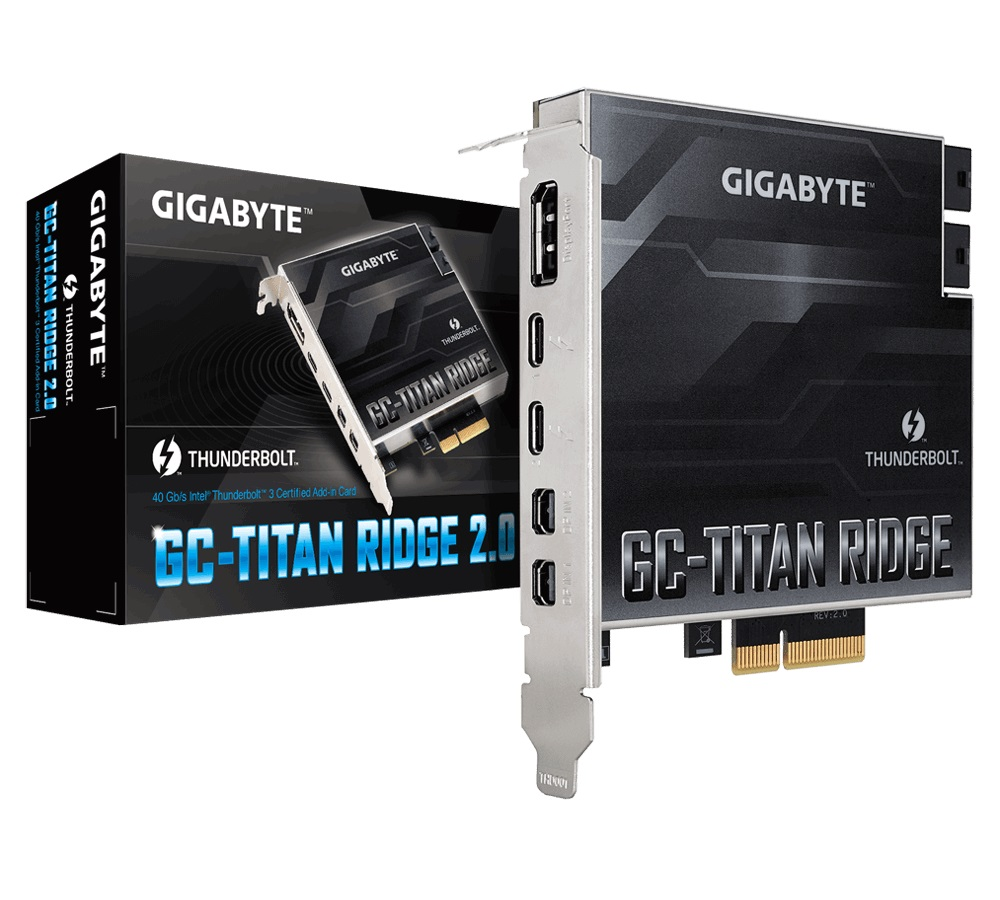 Gigabyte TITAN Ridge Rev2 Dual Thunderbolt 3 Card for Z490 H470 Series 3 Ports USB-C 40 Gb/s DisplayPort 1.2 4K Daisy-chain up to 12 Devices