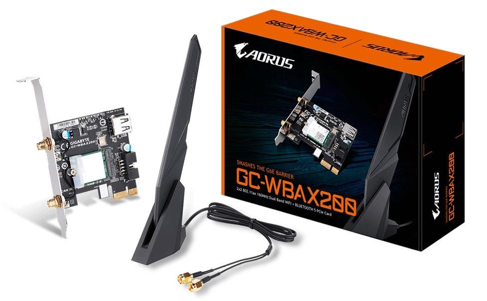 Gigabyte GC-WBAX200 WiFi 6 PCIe Adapter 2400Mbps 160MHz Dual Band Wireless + Bluetooth 5 MU-MIMO TX/RX
