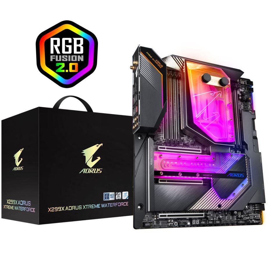 Gigabyte X299X Aorus Xtreme Waterforce XL-ATX MB S2066 8xDDR4 4xPCIe 2xM.2 RAID Gen4 AIC Adaptor 2x10GbE LAN WiFi6 BT CF SLI RGB 2xUSB-C 12xUSB3.2 (LS