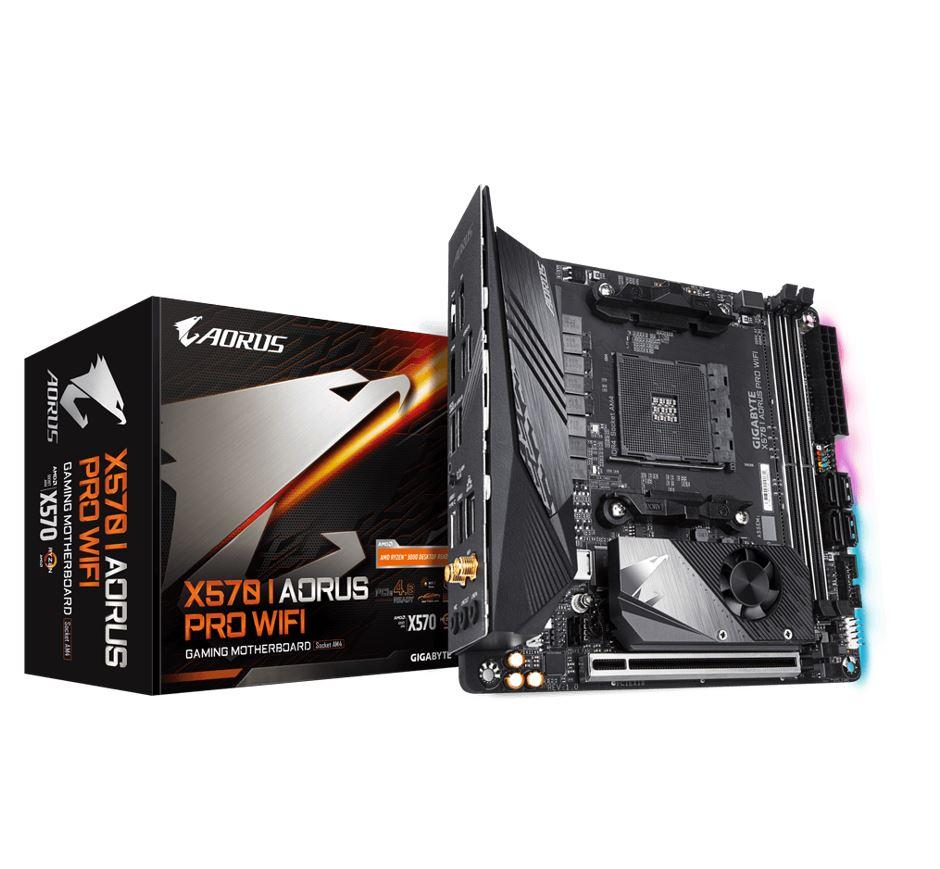 Gigabyte X570 I AORUS PRO WIFI Ryzen AM4 Mini ITX Motherboard 2xDDR4 3xPCIe 4.0 1xM.2 RAID GbE LAN WIFI BT CrossFire RGB 1xUSB-C 7xUSB3.2 (LS)